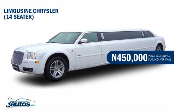 LIMOUSINE CHRYSLER (14 SEATER)- N450,000 (AMOUNT PER DAY WITHOUT FUELING)
