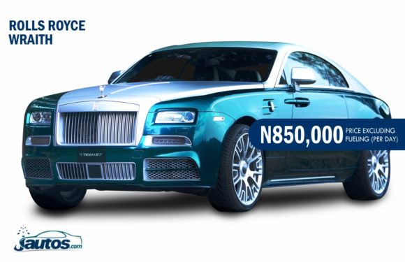 ROLLS ROYCE WRAITH- N850,000 (AMOUNT PER DAY WITHOUT FUELING)