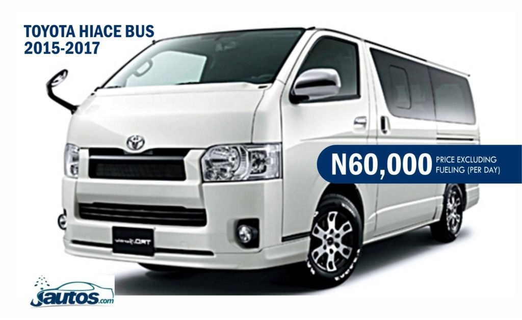 TOYOTA HIACE BUS 2015-2017- N60,000 (AMOUNT PER DAY WITHOUT FUELING