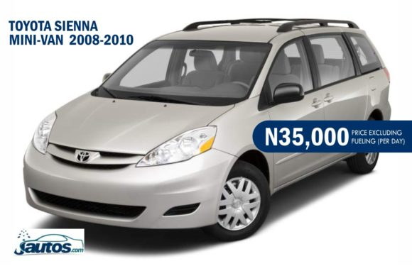 TOYOTA SIENNA MINI-VAN 2008-2010- N35,000 (AMOUNT PER DAY WITHOUT FUELING)